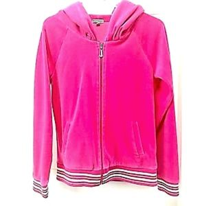 Juicy Couture Hoodie Sweatshirt Pink Zipper Velour